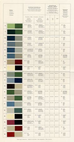 Mercedes-Benz Ponton Paint Codes / Color Charts © www.mbzponton.org