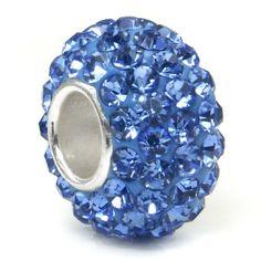 Swaroski Tanzanite Blue Crystal Ball Bead Sterling Silver Charm Fits Pandora Chamilia Biagi Trollbeads European Bracelet $0.01 #topseller