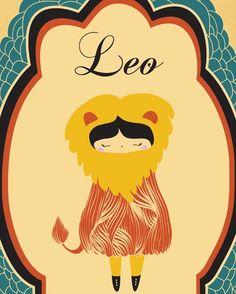 "For Eva's Room - Digital Print, Leo Zodiac Illustration Art Print, ""LEO"" Birth Sign, Leo Constellation Illustration Print Art, Wall Decor, Poster"