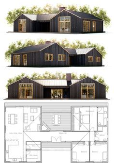 Architecture House Plan, Home Plans, Dog Trot House Plans, Family House Plans, Small House Plans, Farmhouse Floor Plans, Cottage Floor Plans, Cottage Plan, Building A Container Home, Container House Plans, Contemporary House Plans