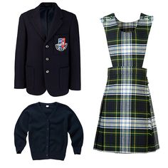 The complete girls' uniform for Robert Gordon's College Primary Years 1-2. ~~~ The following pieces are compulsory items of uniform: Navy cardigan - White long sleeve blouse - Navy duffle coat - Navy blazer - Tartan pinafore - Scarf with school colours is an optional item.