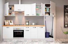 Casco de cocina color haya con patas regulables. #muebles #cocina ...