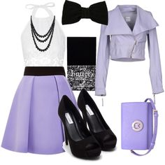 Light Purple Outfit by rileyadewitt on Polyvore featuring polyvore fashion style Miguelina RED Valentino FAUSTO PUGLISI Nly Shoes Metrocity Bling Jewelry Maison Michel Butter London