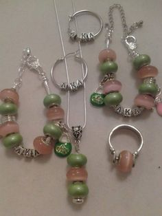 AKA sorority set includes necklace bracelet anklet ring and earrings