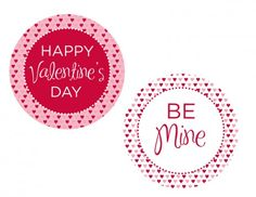 "FREE Valentine's Day Printables:   includes: an invitation, large party circles, medium party circles, party labels, favor tags, Valentine's Day cards, drink flags, food tents, and a ""Happy Valentine's Day"" banner."