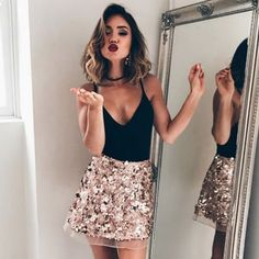 Trendy outfits, nye outfits, evening outfits, outfits for vegas, night outf Nye Outfits, New Years Eve Outfits, Evening Outfits, Night Outfits, Holiday Outfits, Fashion Outfits, New Years Outfit, Holiday Party Outfit, Skirt Outfits