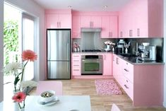 White Kitchen with Pink & Purple Appliances – Amazing Architecture Magazine Pink Kitchen Cabinets, Pink Kitchen Appliances, Kitchen Cupboard Designs, Kitchen Room Design, Cozy Kitchen, Interior Design Kitchen, Home Design, Kitchen Walls, Design Ideas