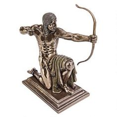 """""""Kneeling Indian with Drawn Bow"""" Statue - WU74113 - Design Toscano"""