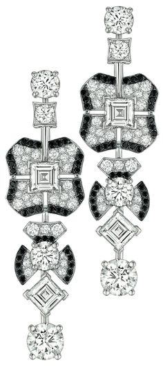Jazz Earrings from Chanel - collection in 18K white gold set with 74 Brilliant Cut Diamonds (5.3 cts), 4 Square Cut diamonds (2.4 cts) and 74 brilliant cut black Spinels - July 2014