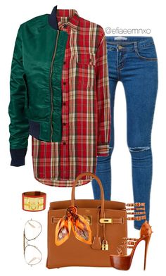 """Untitled #1126"" by efiaeemnxo ❤ liked on Polyvore featuring Kori, Denim & Supply by Ralph Lauren, Schott NYC, Hermès, Christian Louboutin, CÉLINE, christianlouboutin, hermes, sbemnxo and styledbyemnxo"