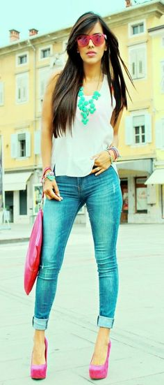 #Summer #Outfits / Blue Jeans + Pink Heels