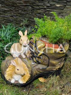 Shoe with a rabbit!! Accentuate the charm of your garden area or living room or shoerack with this planter.