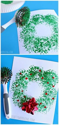 Dish Brush Wreath Craft Easy Christmas craft for kids to make! Easy and Fun DIY Christmas crafts for You and Your Kids to Have Fun. The post 35 Easy and Fun DIY Christmas Crafts for You and Your Kids to Have Fun appeared first on Easy Crafts. Kids Crafts, Toddler Crafts, Preschool Crafts, Quick Crafts, Creative Crafts, Crafts To Make, Preschool Learning, Summer Crafts, Navidad Simple