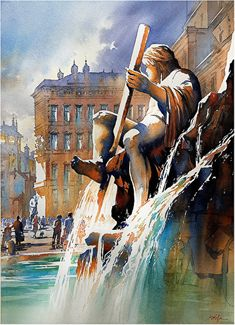 Fountain of the Four Rivers by Thomas W. Schaller Watercolor ~ 30 inches x 22 inches