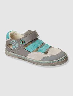 Sandalias de piel semiabiertas niño GRIS MEDIO LISO