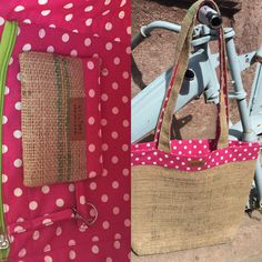 pink polka dots on coffee sack, 50 TL, 18 euros, lined wallet, 15 TL, 5 euro