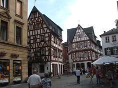 Decorated medieval buildings in the centre of the old city of Mainz.