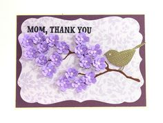 Mother's Day Mom Thank you Floral Card Lavender by CardamomsArt