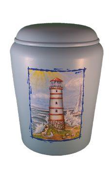 Nona Mela Urnen : Biourne Leuchtturm  biodegradable Urn lighthouse blue mementi-urnen.de