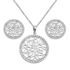 """.925 Sterling Silver CZ Gallery Earrings and Matching Pendant-Neckalce Set with 1.2mm Cable Rolo Chain - 16""""+1"""" Inches Extension GoldenMine. $68.95. Promptly Packaged with Free Shipping and Free Gift Box...Perfect for Gift Giving.. Special manufacturing process held to ensure less wear and tarnish. Guarranteed to contain no Nickel content...completely hypoallergenic. Made using pure 925 Sterling Silver.... Rhodium coated for a lasting shine...and little to no s..."""