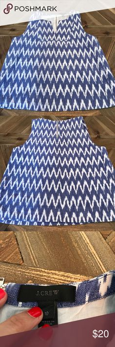 J. crew blue and white ikat blouse! Fun blue and white J. Crew ikat blouse! 100% cotton, size 10. Fun silver back zipper! Great with white skinnies or under a blazer at the office. J. Crew Tops Blouses