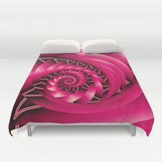 Buy ultra soft microfiber Duvet Covers featuring Stunning Spiral in hot pink, fractal abstract by thea walstra. Hand sewn and meticulously crafted, these lightweight Duvet Cover vividly feature your favorite designs with a soft white reverse side.