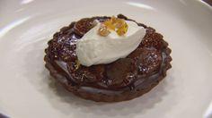 Dark Chocolate Ganache Tart, Figs and Olorso Sherry Creme Fraiche