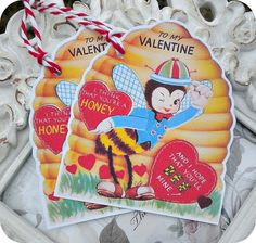 Vintage Honey Bee and Hive Valentine Tags  by LittlePaperFarmhouse, $3.95