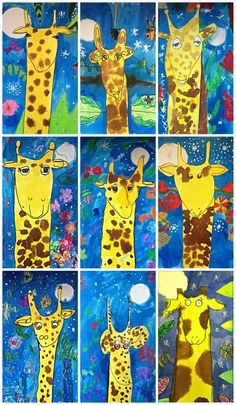 My kindergarten through 2nd graders looked at the illustrations by Guy Parker-Rees in the book Giraffes Can't Dance. They created their up-close giraffes using the wet on wet technique with liquid wat