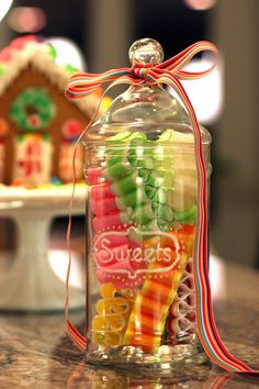 Ribbon candy in an adorable apothecary jar...