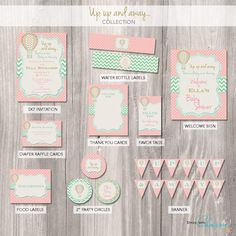 Hot air balloon Party Package - Hot air balloon baby shower Invitation - Hot air balloon baby shower party package - Baby Shower printable by StyleswithCharm on Etsy https://www.etsy.com/listing/189601200/hot-air-balloon-party-package-hot-air