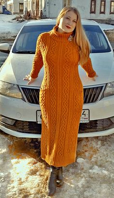 Curvy Girl Fashion, Orange Dress, Cable Knit, Knit Dress, Knit Crochet, Sweaters For Women, Street Style, Clothes For Women, Knitting