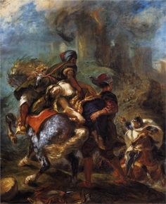 The Abduction of Rebecca, 1846, Delacroix  by Eugène Delacroix  (Musee du Louvre, Paris, France) - Romanticism