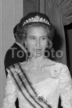 Princess Anne, wearing the Cartier Scroll tiara, attending a banquet at Claridges, 14 June 1972
