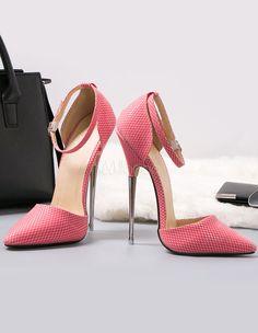 Chaussures à talon haut roses en PU avec boucle -No.4