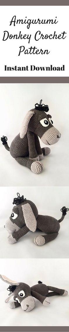 Amigurumi Donkey Crochet Pattern Printable #ad #amigurumi #amigurumidoll #amigurumipattern #amigurumitoy #amigurumiaddict #crochet #crocheting #pattern #patternsforcrochet