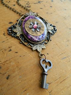 A Key for the Time of Love Steampunk Necklace by Christina Davis. $48.00, via Etsy.