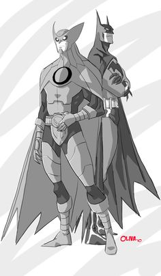 """Two of a Kind by AZNbebop.deviantart.com.  Batman and his evil counterpart Owlman (or as I like to call him """"Bad Brucie"""")"""