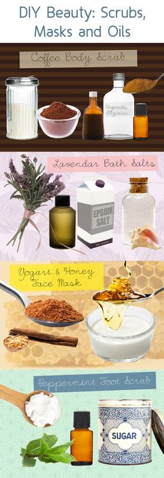 DIY Beauty: Scrubs, Masks and Oils - Looking to add a new addition to your beauty and skincare arsenal? Instead of heading out to the store or ordering a new product online, try whipping up one of these luxurious beauty treats. Body scrubs, face masks, bath salts, oils—these easy, surprisingly inexpensive, DIY beauty treatments are filled with nutrient-packed ingredients and are great alternatives to splurging on the expensive stuff.