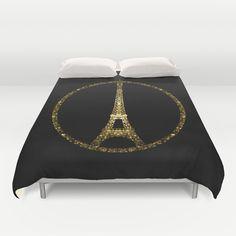 Eiffel Tower gold sparkles peace symbol Duvet Cover #PLdesign #PrayforParis #GoldSparkles #SparklesGift
