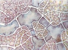 Emily Garfield's Watercolor Drawings Map Imaginary Places and Examine the Fractal Shapes of Cities - CityLab