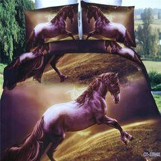 Jumping Horse Duvet Quilt Cover Pillowcase Bed Set Queen Size L Beautiful Bedding Sets, Horse Bedding, 3d Bedding Sets, Brown Horse, Horse Print, Quilt Cover, Queen Size, 3 D, Duvet Covers