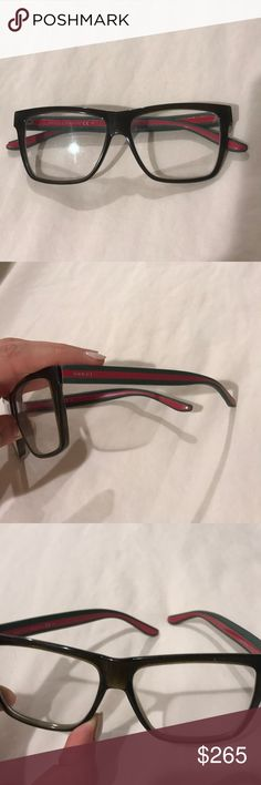 Authentic olive Gucci eyeglass frames Authentic Gucci eye glasses all you have to do is change out the lens Good condition! Signature Gucci stripes on the sides olive green frames. I used to get soooo many compliments wearing these! Recently got Lasik so I don't need them anymore 😌 Gucci Accessories Glasses