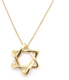 Tiffany & Co. Star of David 18K Yellow Gold Necklace