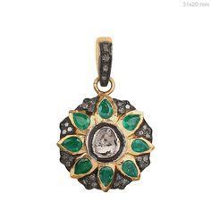 Emerald Gemstone 14k Gold Pave Rose Cut Diamond Pendant Jewelry ONE DAY SHIPPING #Raj_Jewels