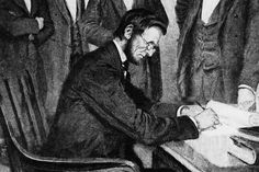 This picture is an illustration of President Abraham Lincoln signing the Emancipation Proclamation on January 1, 1863 in Washington.