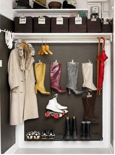 Put a cloth between the store bought clips and prevent saggy boots in the bottom of your closet!  Great idea!!