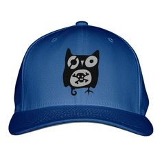 Owl With Skull Embroidered Baseball Cap