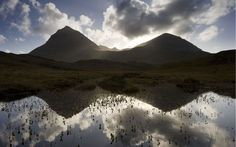 Quinag (Sail Ghorm and Sail Gharbh) and moorland pool, Assynt, Sutherland, NW Scotland. Did you know? These wild mountains in Sutherland are home to wildcats and golden eagles, and also provide the local economy with important tourism revenue.  Picture: Mark Hamblin/2020VISION / Rex Features