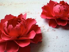 The Peony -  Handmade Paper Flower - Berry - set of 8 - Stems Included.. $25.00, via Etsy.